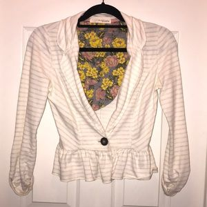 Rewind striped cream blazer